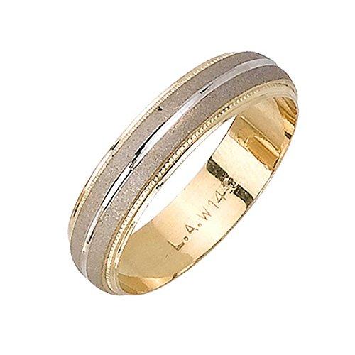 14K Two Tone Gold Double Stripe Men's Wedding Band (5mm) (Double Stripe Wedding Band Ring)