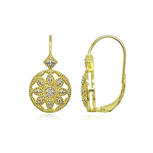 Gold Flash Sterling Silver Diamond Accent Filigree Flower Medallion Round Leverback Drop - Flower Leverback Earrings Diamond