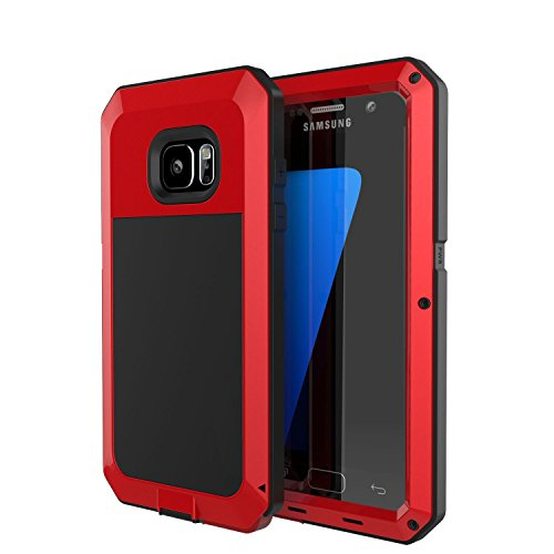Galaxy S7 Case, Tomplus [Newest] Extreme Hard Luxury Aluminum Alloy Protective Metal Full-body Rugged Holster Case with Built-in Gorilla Glass Screen Protector for Samsung Galaxy S7 (Red)