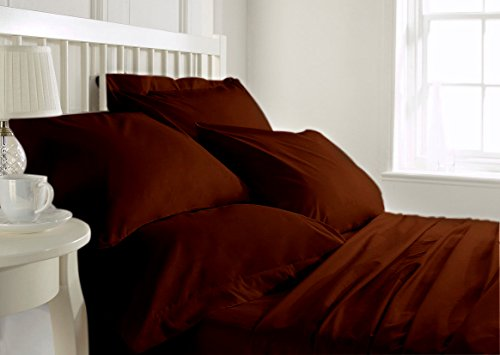 Italy Bed Linens (LINEN SOUQ Genuine Premium Egyptian cotton 600 Thread Count, Made In Italy - Impression Italian Finish CHOCOLATE 4-Piece Sheet Set, 24 inches Deep Pocket, Single Ply, Solid QUEEN)