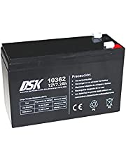 DSK 10362-12V 7.2Ah High Discharge Sealed Rechargeable AGM Lead Acid Battery. Ideal for UPS-UPS, Security and communication systems, emergency lights