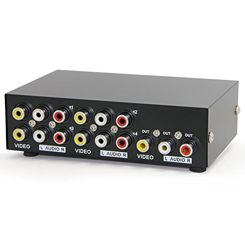 Panlong 4-Way AV Switch RCA Switcher 4 In 1 Out Composite Video L/R Audio Selector Box for DVD STB Game (Rca Audio Switch)