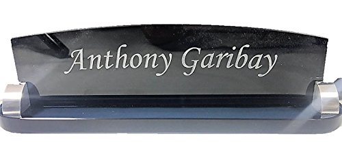 Customized Office Desk Name Plate, Smoked Glass Corporate Office Name Plate, Engraved, Plersonalized ()