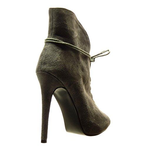 Angkorly - damen Schuhe Stiefeletten - Stiletto - Sexy Stiletto high heel 12.5 CM - Grau