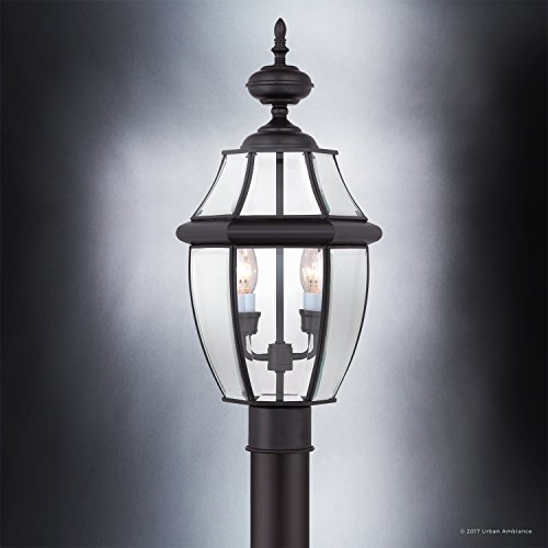 Luxury Colonial Outdoor Post Light, Large Size: 21''H x 11''W, with Tudor Style Elements, Versatile Design, High-End Black Silk Finish and Beveled Glass, UQL1148 by Urban Ambiance by Urban Ambiance (Image #3)