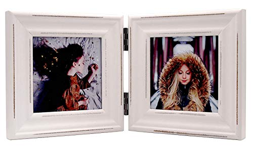 (Double 4x4 Wood Photo Frame Instagram, Hinged Picture Frames, with Glass Front, Fit for Stands Vertically on Desk Table Top (Window 3.5 x 3.5 Picture, White)