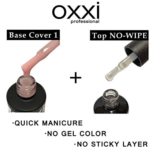 (OXXI Professional BEST SET 2in1 BASE Rubber Camouflage Cover 8ml. (0.27oz) + TOP No-Wipe 8ml. no sticky layer (0.27oz) Gel LED/UV Nail Polish Coat Soak Off Original. (Base Cover 1 + Top No-Wipe))