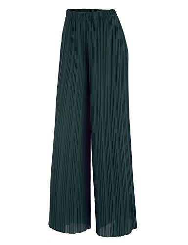 Womens Pleated Pant (Made By Johnny WB1794 Womens Pleated Wide Leg Pants with Elastic Waist Band-Made in USA S Green)