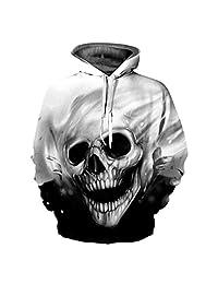 Sumen Unisex 3D Print Skull Pullover Long Sleeve Hoodie Sweatshirt Casual Tops