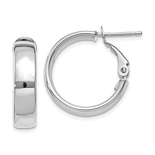 14k White Gold Italian Hoop - Roy Rose Jewelry 14k White Gold Italian Hoop Earrings