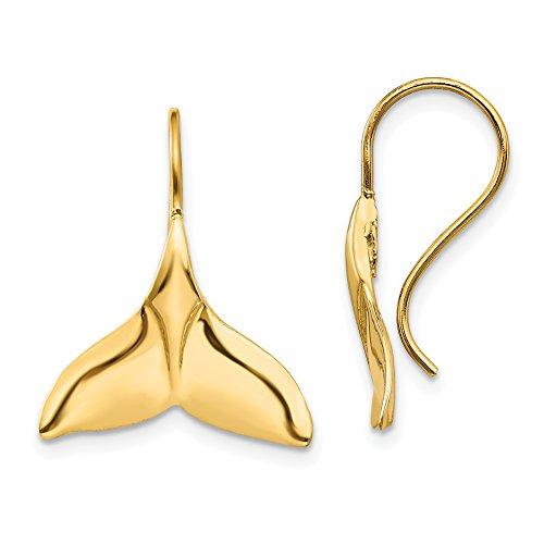 14k Yellow Gold Whale Tail Shepherd Hook Dangle Earrings 29x17 mm ()