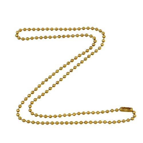 DragonWeave 2.4mm Gold Tone Brass Plated Steel Ball Chain Necklace Extra Durable Color Protect Finish