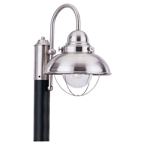 Sea Gull Lighting 8269-12 Sebring One-Light Outdoor Post Lantern with Clear Seeded Glass Diffuser, Black Finish by Sea Gull Lighting