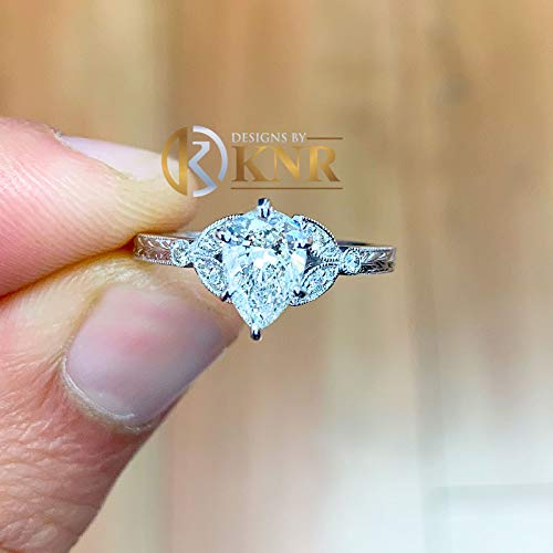 (14k solid white gold pear shape forever one moissanite and natural round cut diamonds engagement ring art deco antique style halo 1.70ctw)