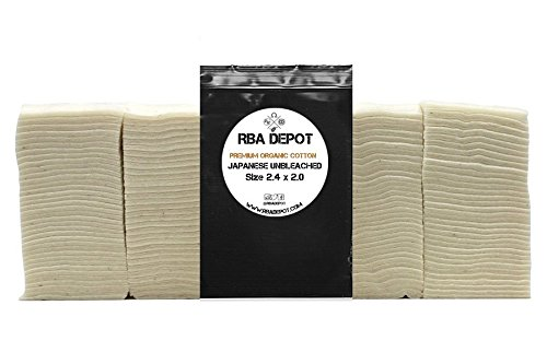 [RBA Depot] 100% Organic Unbleached Japanese Cotton Pads (Japanese Organic Unbleached Cotton - 20 Small ()