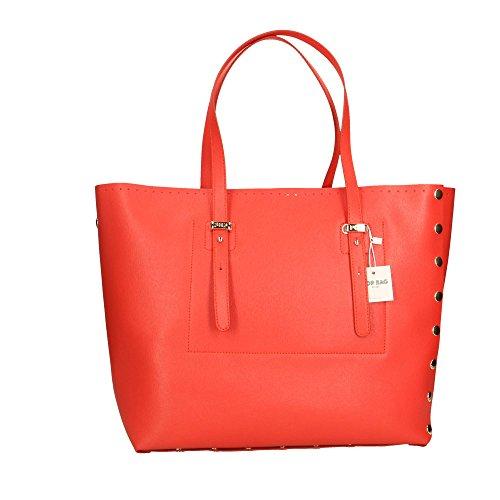 Corail à Saffiano cuir Impression POP main 34x31x15 femme Bags in véritable Italy en Sac Cm Made ZZq7PE