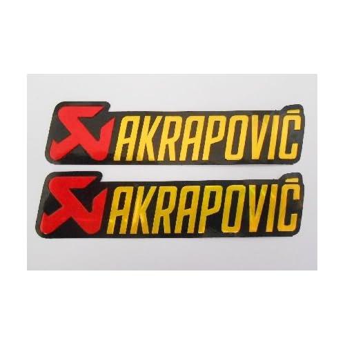 AKRAPOVIC logo stickers decals autocollant - rouge or - echappement - exhaust - Motorbike - Motorsport - Motorcycles - Biker - set of 2 pieces