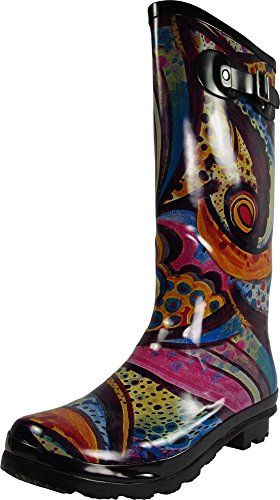 NORTY - Womens Hurricane Wellie Gloss Hi-Calf Monet Printed Rain Boot, Multi 39211-7B(M) -