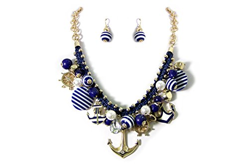 Joon's Collection Chunky Nautical Anchor Helm Sea Charm Necklace Earring Set Fashion Jewelry,Gold Tone(Cleaning Cloth Included) ()