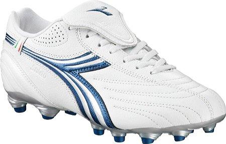 Diadora Women's Stile 10 LT MG 14 Soccer Shoe,White/Blue,8 M US