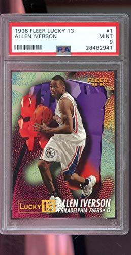1996 Best Autographs - 1996-97 Fleer Lucky 13#1 Allen Iverson ROOKIE RC NBA MINT PSA 9 Graded Card