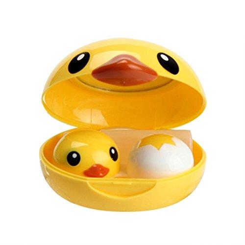 Malloom Mini Cute Duck Travel Kit Holder Mirror Box Contact Lens Case (Round Yellow)