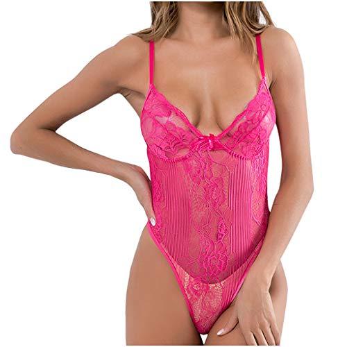 (kemilove Women Sexy Lingerie Bodysuit Plus Size One-Piece Lingerie Nightdress Bodysuit Lace Nightdress Hot Pink)