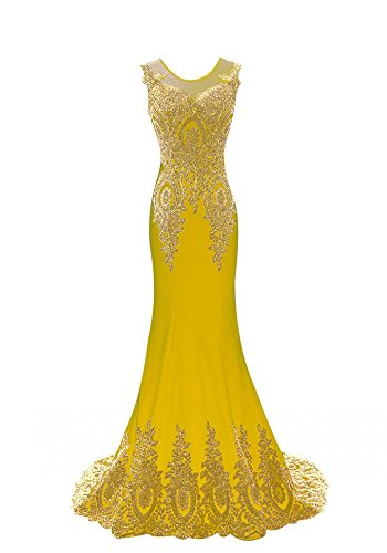 Prom Dress Mermaid Lace Sleeveless King's Evening Women's Gowns Love Yellow Embroidery IfwCq8g