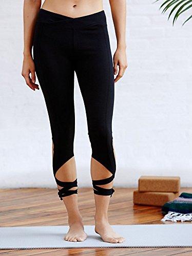 Strap Smock (Resulzon Womens Workout Cutout Tie Straps Athletica Yoga Pants Spanx Gym Fitness (L, Black))