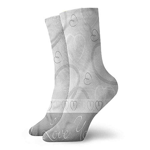 (Patterned Socks Hearts Cute Doodle Hearts Love Light Cushion Athletic Socks)