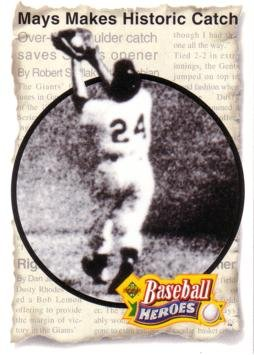 (1993 Upper Deck Baseball Heroes #47 Willie Mays Makes Historic Catch Card)