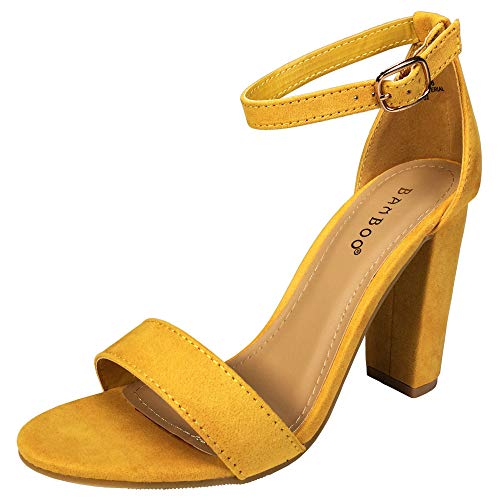 BAMBOO Women's Single Band Chunky Heel Sandal with Ankle Strap, Marigold Faux Suede, 8.0 B US