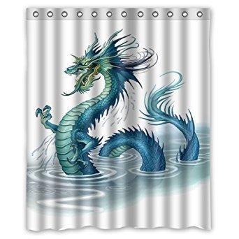 72 Dragon - KXMDXA Golden Chinese Dragon Waterproof Polyester Shower Curtain 60x72 Inch Bathroom Decor