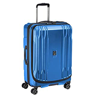 DELSEY Paris DLX Expandable Luggage with Spinner Wheels, Arctic Blue, Checked-Medium 25 Inch