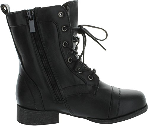 Rosalie32k Lace-Up Kids Military Combat Boot Zipper Children's Shoes