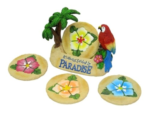Bird Of Paradise Display - Drink Coaster Set Paradise Beach Parrot Design Tabletop Beer Cupholder Thirsty Bar Desk Glass Display Cool Bird Ornament