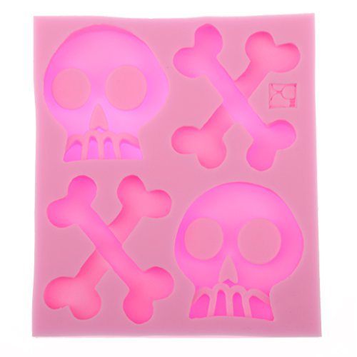 [MagiDeal Punk Skeleton Skull Bone Silicone Cake Mould Baking Fondant Sugar Craft Halloween Wedding Birthday Party Home] (Diy Halloween Decor)