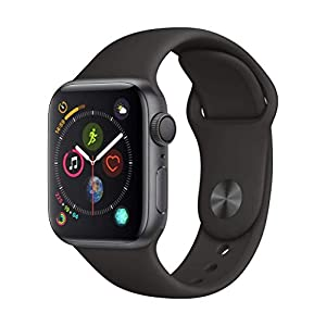 Apple Watch Series 4 (GPS, 40mm) – Space Gray Aluminium Case with Black Sport Band (Renewed)