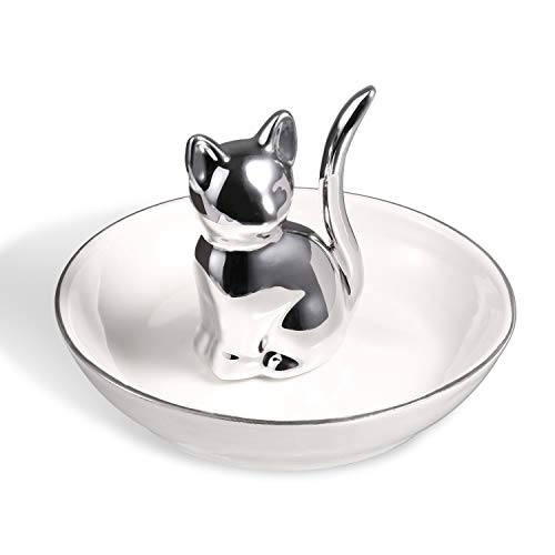(ROSA&ROSE Cat Ring Holder Trinket Tray Ceramic Jewelry Dish Porcelain Home Decor (Silver/White))