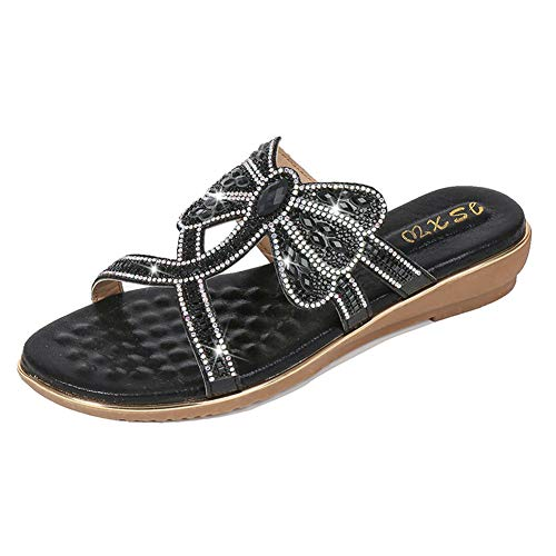 NVSRZTX Women's Open Toe Sandals Summer Bohemia Rhinestone Flower Beach Flip Flops Elastic Flat Shoes,Black,39 ()