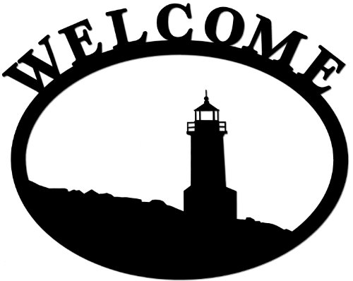 [Wrought Iron Welcome Sign- Lighthouse] (Lighthouse Welcome Plaque)