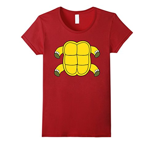 [Womens Funny Turtle Shell Costume Tshirt - Hilarious Halloween Gift Medium Cranberry] (Turtle Shell Design Costume)