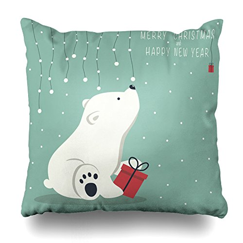 (ONELZ The Cover Depicts A Seated Little Polar Bear With Gift Box Square Decorative Throw PillowCase Two Sides Printed, Fashion Style Zippered Cushion Pillow Cover (18 x 18 inch))