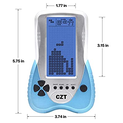New CZT 4.1 inch Big Blue Backlight Screen Brick Game Console Support Headphone Built-in 23 Game Block Game Classic Leisure Puzzle Children Gift Toy Powered 3AAA Battery Power (not Included) (Blue): Computers & Accessories