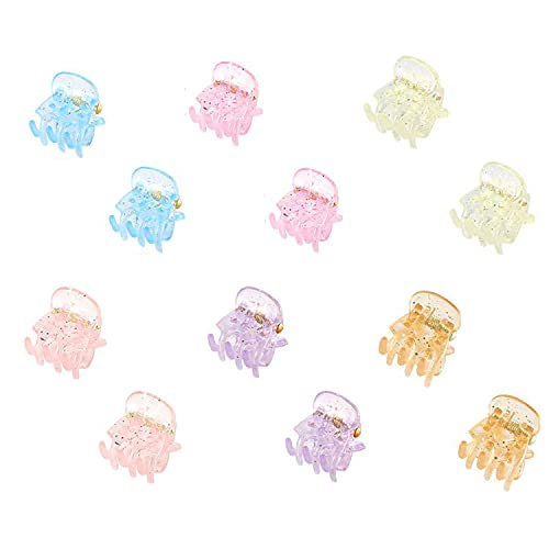 TASSE Mini Hair Clips Plastic Hair Claws Pins Clamps for Girls and Women (12 Pieces, multicolor)
