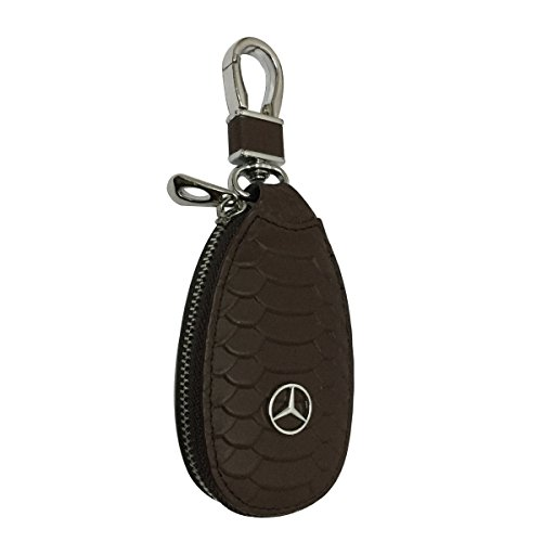New 1pcs Brown Leather Eye Drop Shape Car Key Wallet Zipper Case Keychain Coin Holder Metal Hook Bag Collection For Mercedes Car Vehicle Auto Lover