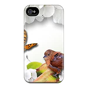 For Iphone Case, High Quality Spring Birds Blossoms Butterflies For Iphone 4/4s Cover Cases