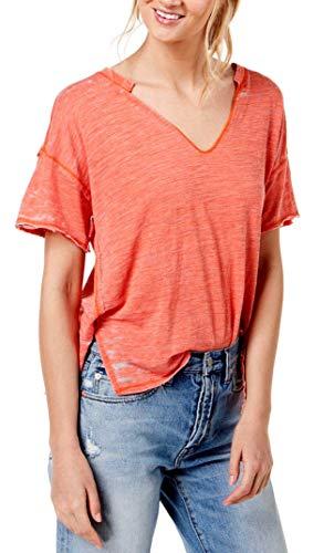 (Free People Womens Maddie Burnout Oversized T-Shirt Pink M)