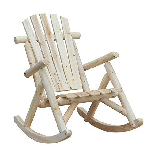 Outsunny Outdoor Adirondack Rocking Chair, Fir Wood Log Slatted Design Patio Rocker for Porch Garden Lounging