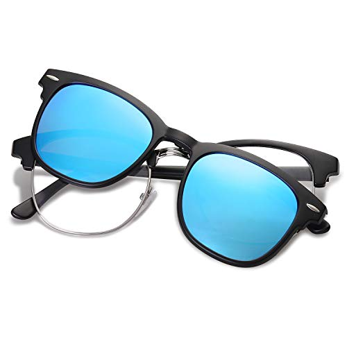 SOJOS Semi Rimless Polarized Clip On Sunglasses Half Horn Rimmed SJ5018 with Matte Black Frame/Blue Mirrored Polarized ()